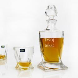 kryształowa karafka bohemia ze szklankami z grawerem