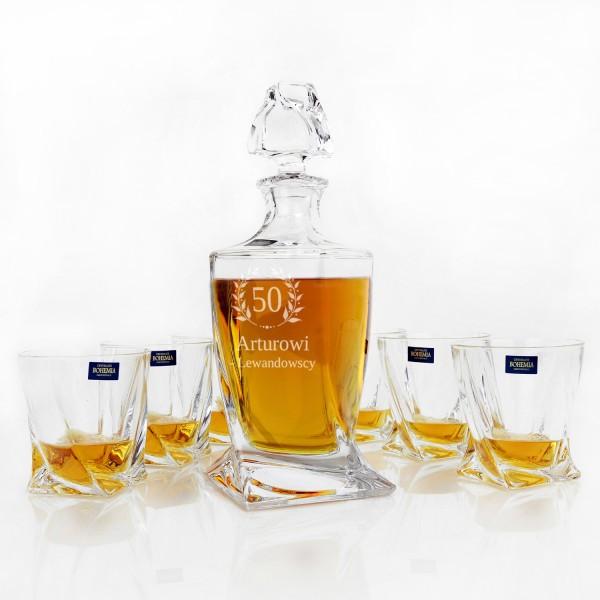 personalizowana karafka bohemia ze szklankami