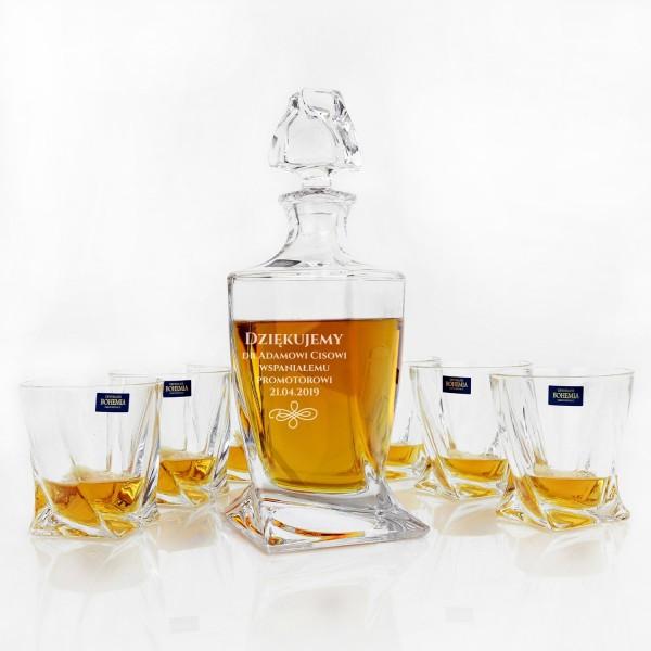 karafka i szklanki do whisky z grawerem na podziękowania dla promotora