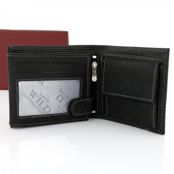 7608dc9d85a42 Grawerowany portfel męski Always Wild Black - prezent z dedykacją