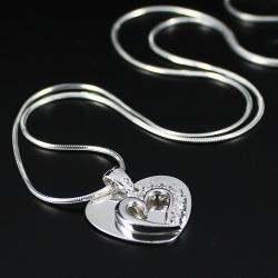Komplet dwa serca na łańcuszku