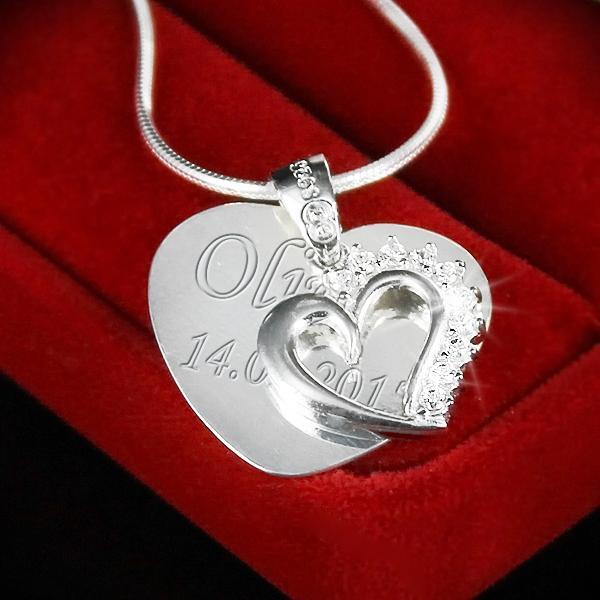 Srebrny komplet serca na łańcuszku