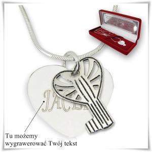 Komplet serce z kluczykiem na łańcuszku