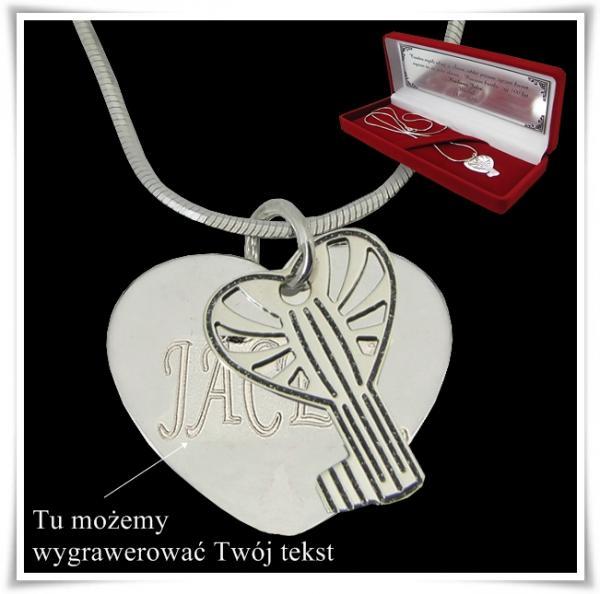 Srebrny komplet serce z kluczykiem na łańcuszku