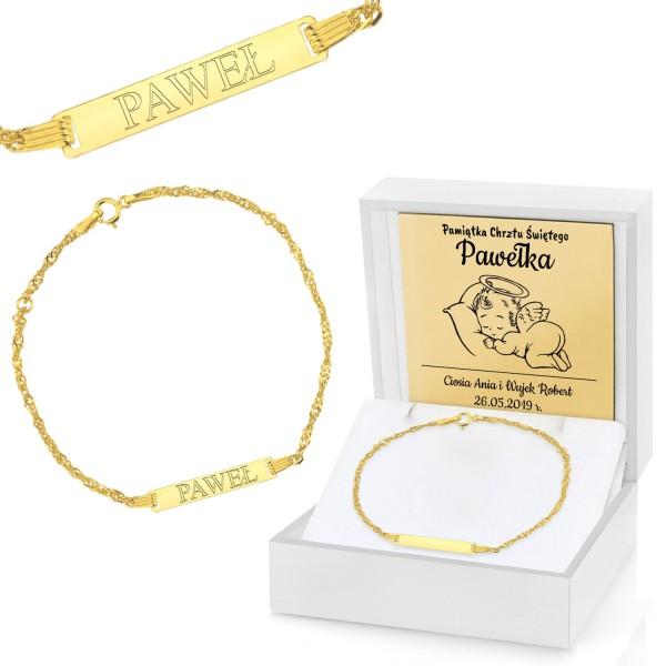 grawerowana bransoletka złota w etui na prezent na chrzciny