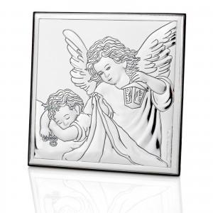 srebrny obrazek na prezent na chrzest