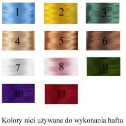 kolory nici używanych do haftu