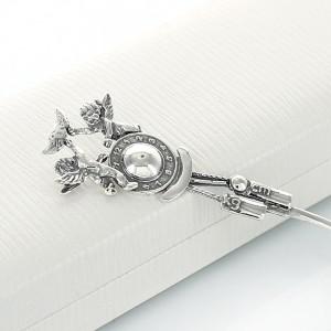srebrna łyżeczka z aniołkami