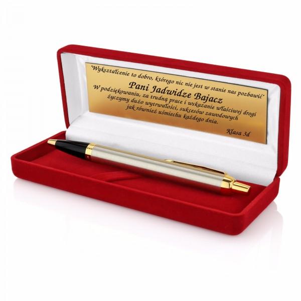 długopis Parker w czerwonym etui z grawerem dedykacji na prezent