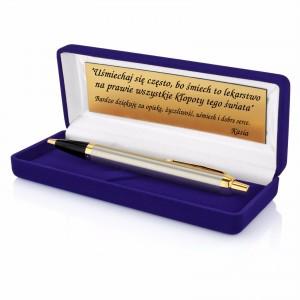 długopis Parker w niebieskim etui z grawerem na prezent