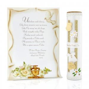 tuba dekoracyjna na prezent na chrzest