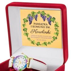 zegarek na komunię z dedykacją dla dziewczynki