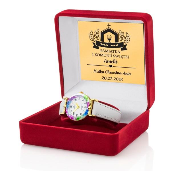 pamiątka pierwszej komunii zegarek z grawerem
