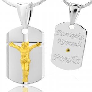 łańcuszek z medalikiem na komunię dla chłopca