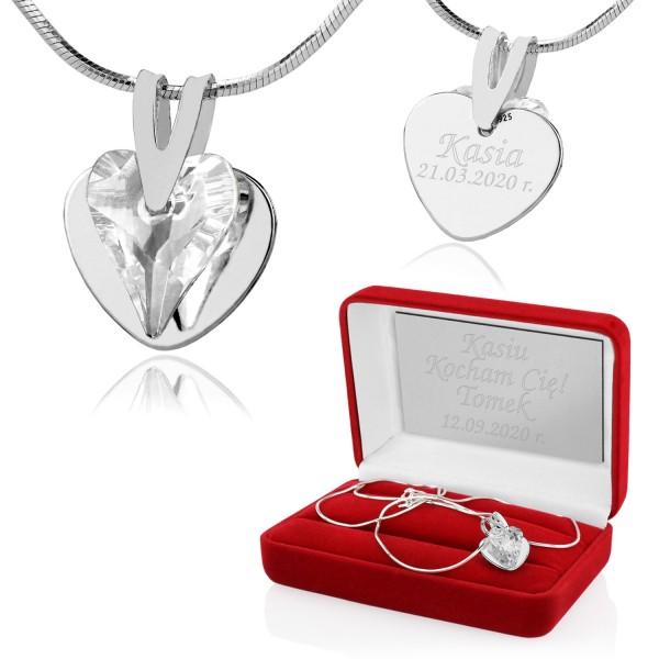 srebrny naszyjnik serce z kryształem swarovskiego