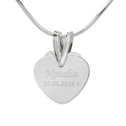 srebrny naszyjnik serce z grawerem