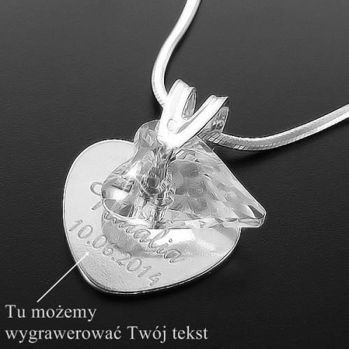Srebrny komplet na łańcuszku z serduszkiem Swarovski prezent na mikołajki dla siostry