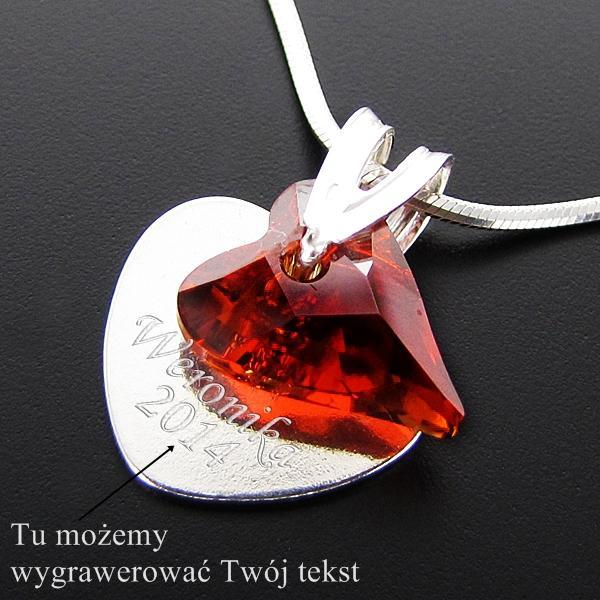 Srebrny zestaw na łańcuszku z czerwonym sercem Swarovski