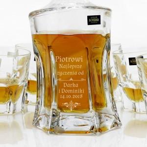 karafka z grawerem dedykacji z zestawem szklanek pomysł na prezent