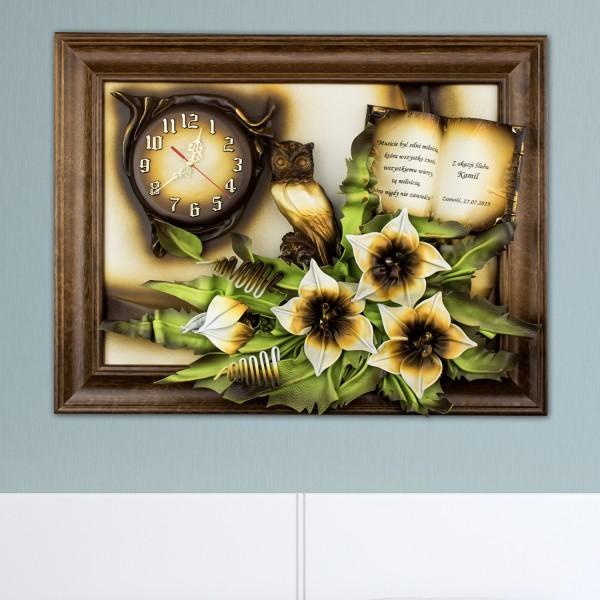 obrazy ze skóry kwiaty na  wyjątkowy prezent