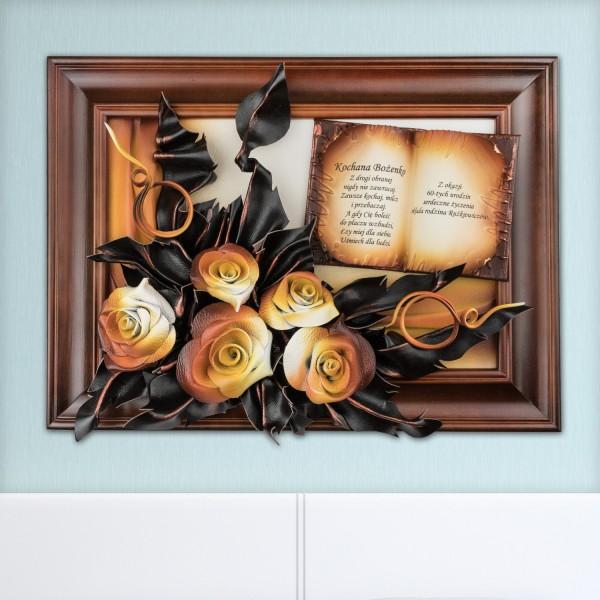 obrazy ze skóry z życzeniami na oryginalny prezent