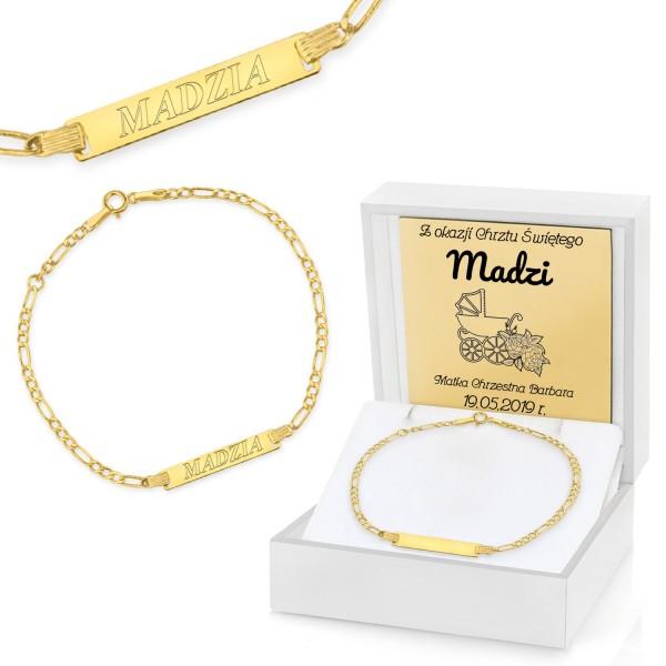 złota bransoletka na chrzest w pudełku z dedykacją