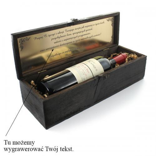 Skrzynka na wino ze stuletniego drewna z grawerem - prezent na Mikołajki dla siostry