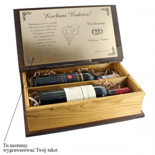 Drewniana skrzynka na wino (podwójna) z opcją graweru na prezent dla niego