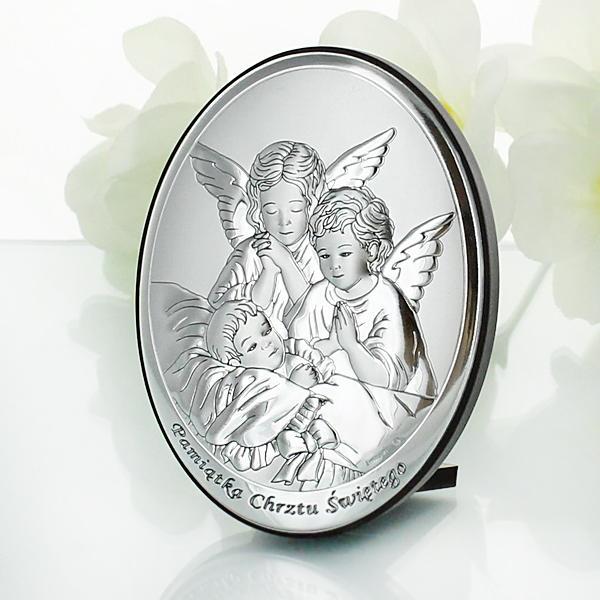 srebrny obrazek z grawerem na chrzest