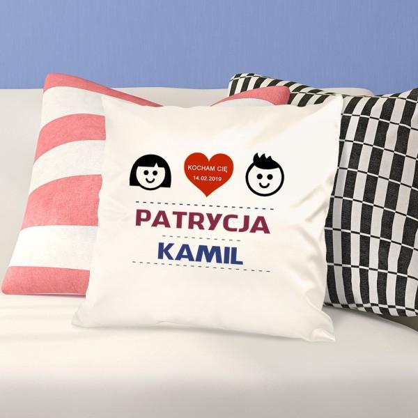 poduszka z nadrukiem dla zakochanych