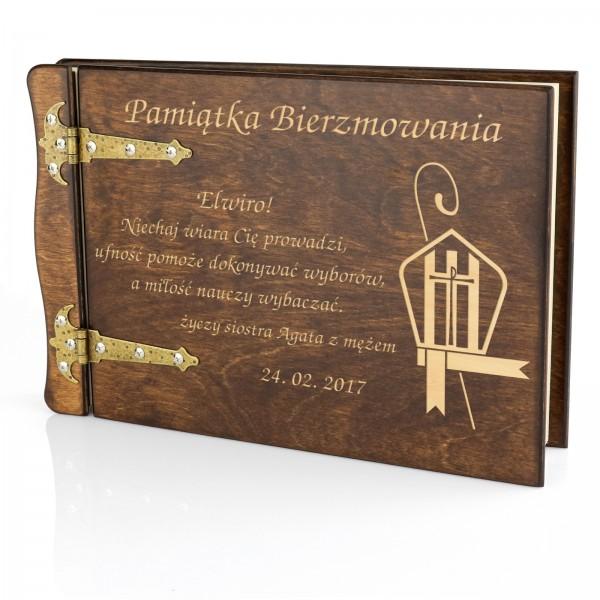prezent na bierzmowanie album drewniany z grawerem