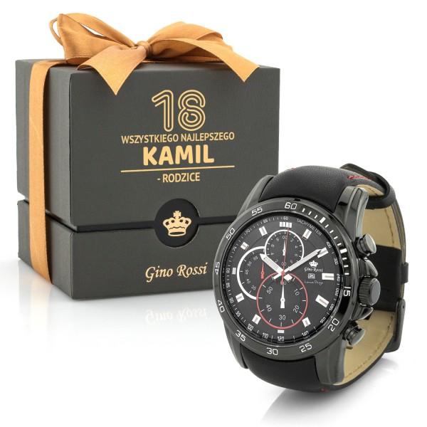 spersonalizowany zegarek męski Gino Rossi na prezent na 18 urodziny
