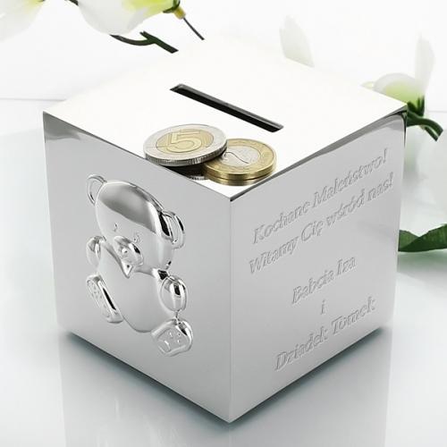 Pokryta srebrem Skarbonka MIŚ z SERDUSZKIEM z opcją graweru - prezent dla dziecka na Mikoł