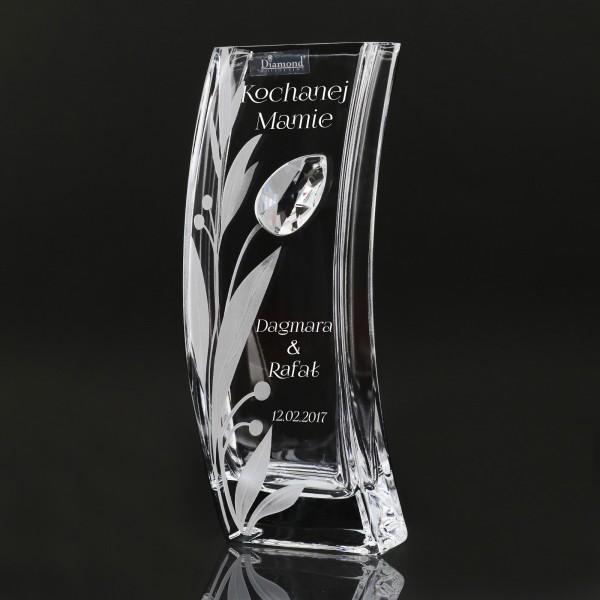 wazon szklany z kryształem swarovski na prezent