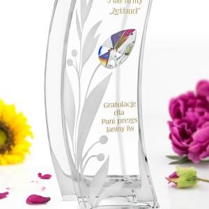 grawerowany wazon z kryształem swarovskiego na prezent dla szefowej