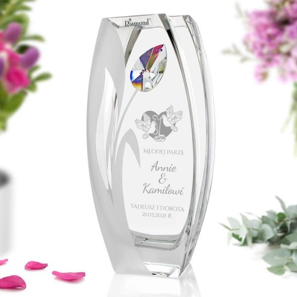 wazon szklany z grawerem na prezent ślubny