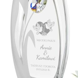 szklany wazon z grawerem na pamiątkę ślubu