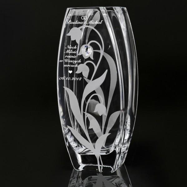 wazon szklany z grawerem dedykacji na prezent dla pary