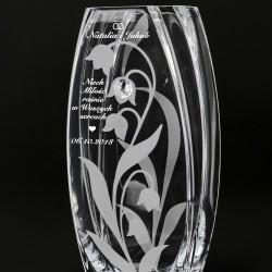 pomysł na prezent dla nowożeńców szklany wazon z grawerem