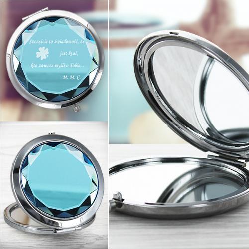 Prezent dla kobiety grawerowane lusterko kompaktowe z życzeniami