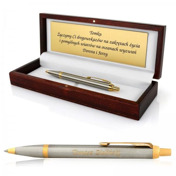 Długopis srebrny ze złotym grawerem dedykacji na prezent