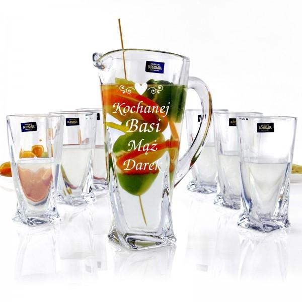 grawerowany dzbanek na prezent z zestawem szklanek
