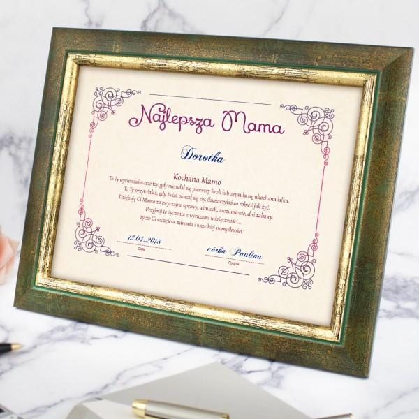 certyfikat w ramce z imieniem na prezent dla mamy