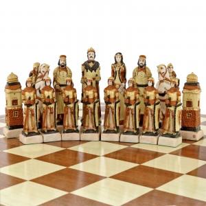 ręcznie malowane szachy z grawerem