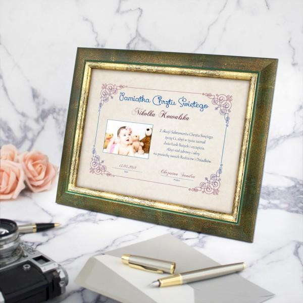 certyfikat ze zdjęciem na prezent na chrzest święty
