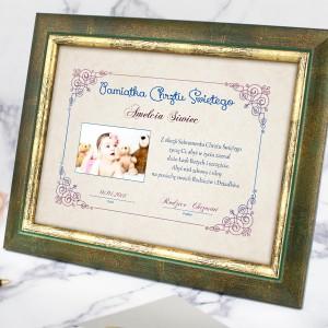 prezent dla dziewczynki na chrzest certyfikat w ramce ze zdjęciem
