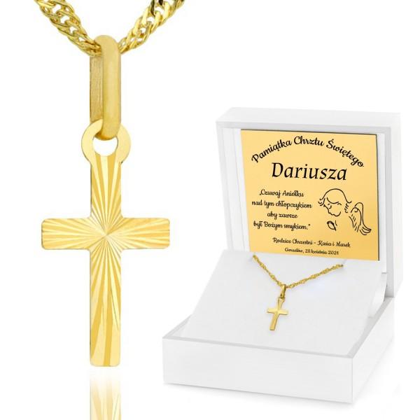 złoty krzyżyk pr. 585 z etui z grawerem na chrzest