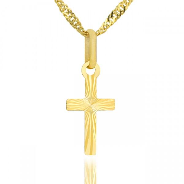 krzyżyk złoty pr. 585 z łańcuszkiem