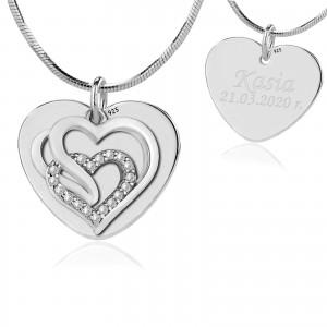srebrny łańcuszek z zawieszką serce