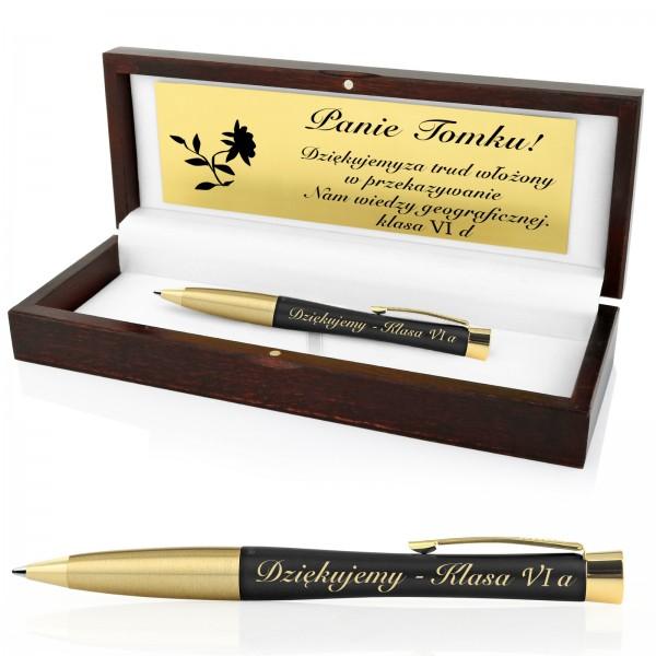 długopis Parker Urban Muted Black GT w eleganckim drewnianym etui z dowolną dedykacją